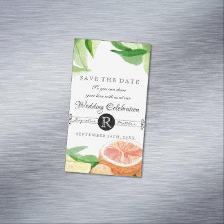 Laranjas do limão dos citrinos do imã salve o dia cartão de visitas magnético
