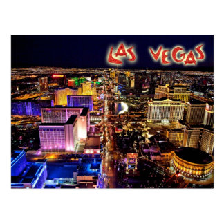 Las Vegas, Nevada na noite - vista aérea Cartão Postal
