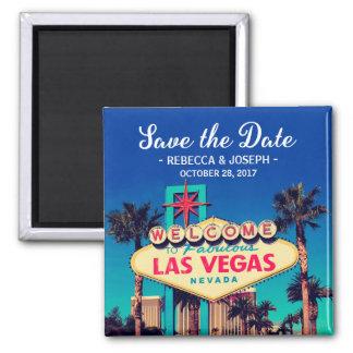 Las Vegas que Wedding economias retros da foto a Ímã Quadrado
