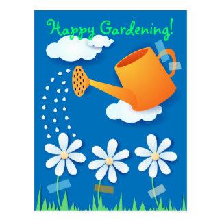 Lata molhando e flores, cartão