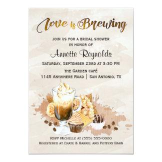 Latte e chá de panela dos cupcakes convite 12.7 x 17.78cm