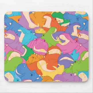 Laughing Hippos - bright colours Mouse Pads
