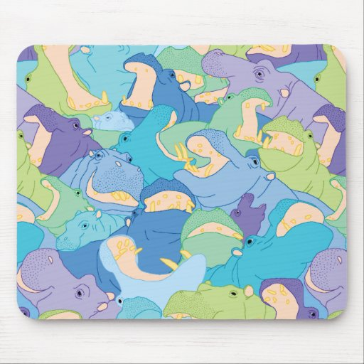Laughing Hippos - cool colours Mouse Pads