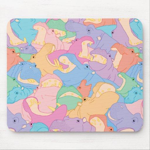 Laughing Hippos - pastel Mousepad