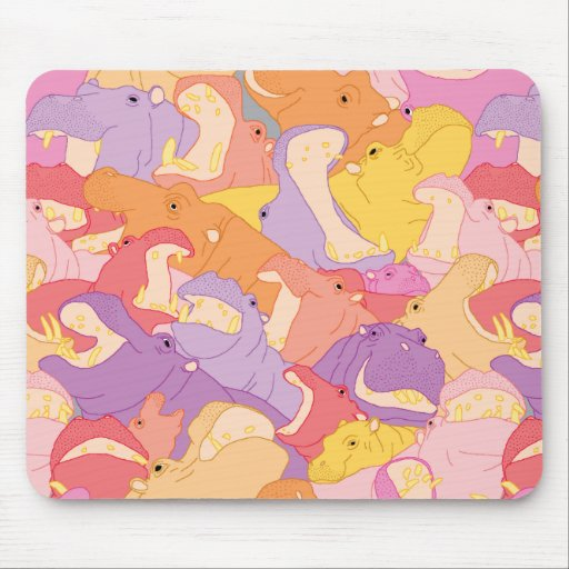 Laughing Hippos - warm colours Mouse Pads