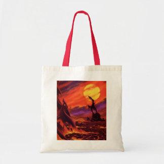 Lava do vermelho de w do planeta do vulcão da sacola tote budget
