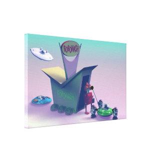 Lavagem retro de Robo do brinquedo Impressão De Canvas Envolvida