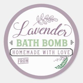 Lavanda da etiqueta da bomba do banho