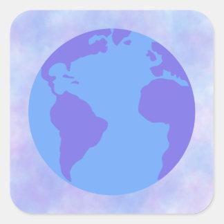 Lavanda e globo azul com fundo da laço-tintura adesivo quadrado