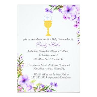 Lavanda floral do primeiro convite do comunhão