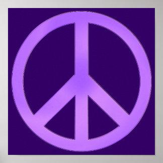 Lavanda no sinal de paz roxo escuro poster