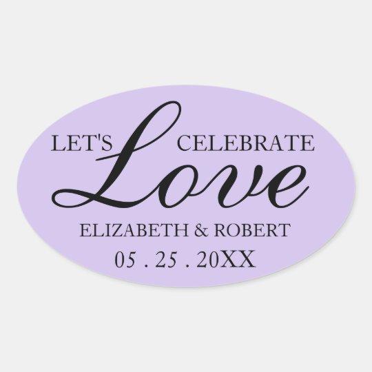 Lavanda oval dos convites da etiqueta do casamento