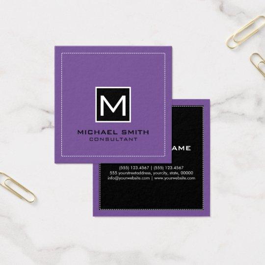 Lavanda preta moderna elegante do monograma cartão de visitas quadrado