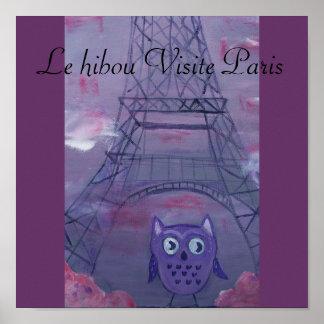Le hibou Visite Paris Pôster