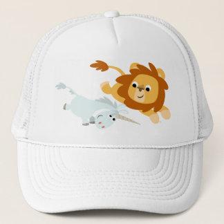 Leão bonito dos desenhos animados e chapéu do boné
