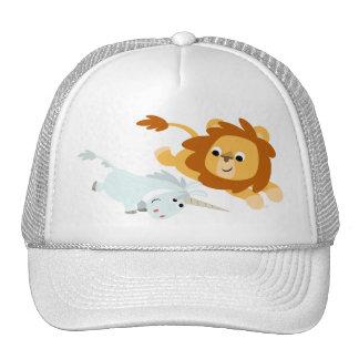 Leão bonito dos desenhos animados e chapéu do unic boné