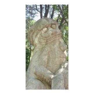 Leão chinês cartão com foto