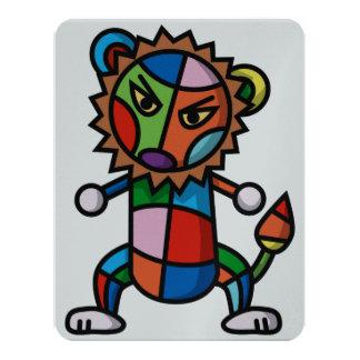 leão colorido convite 10.79 x 13.97cm