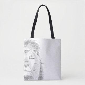 Leão da tipografia bolsa tote