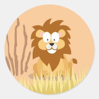 Leão de meu serie dos animais do mundo adesivo em formato redondo