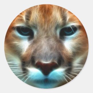Leão de montanha adesivo redondo