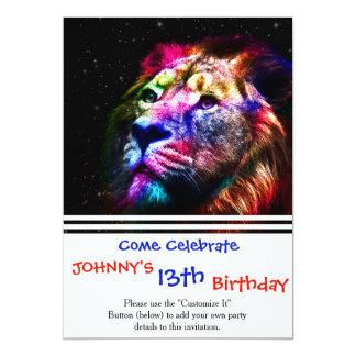 Leão do espaço - leão colorido - arte do leão - convite 12.7 x 17.78cm