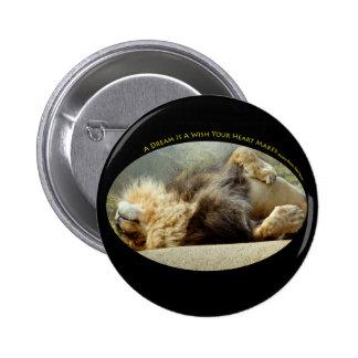 Leão do jardim zoológico que sonha de um botão da bóton redondo 5.08cm
