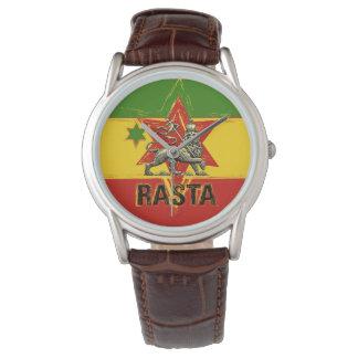 Leão do relógio de Rasta do design vermelho do