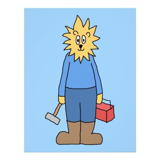 Leão do trabalhador da construção panfletos personalizados