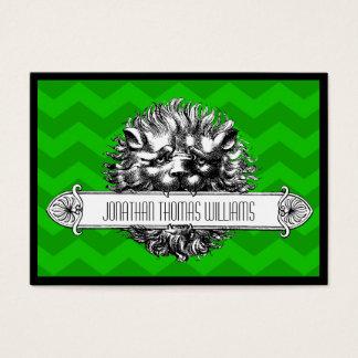Leão do vintage & cartão de visita moderno verde