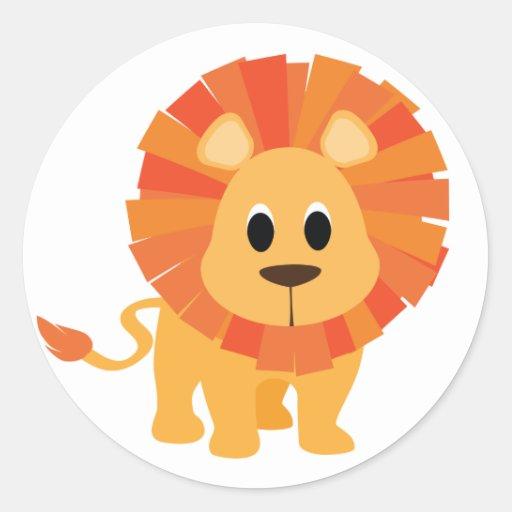 Leão doce adesivos em formato redondos