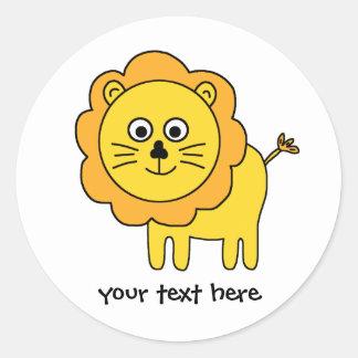 Leão dos desenhos animados adesivo redondo