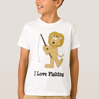 Leão dos desenhos animados com pesca pólo de A Tshirt
