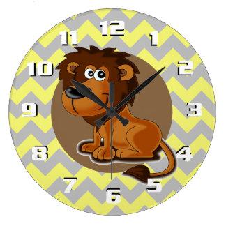 Leão dos desenhos animados no berçário bonito do relógios de paredes
