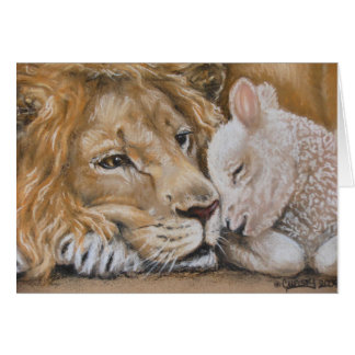 Leão e cordeiro pelo cartão de TACS 5x7