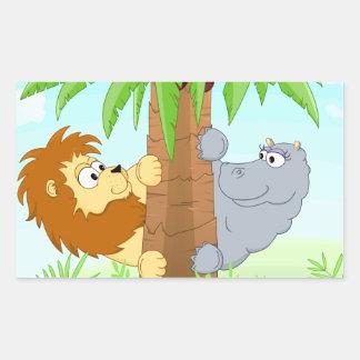 Leão e hipopótamo escondendo adesivos retangular