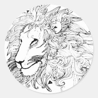 Leão e triângulos adesivo redondo