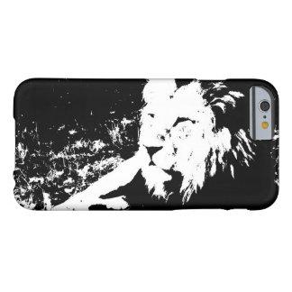 Leão em preto e branco capa barely there para iPhone 6
