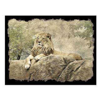 Leão majestoso que senta-se em um cartão do