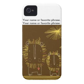 Leão minimalista - fundo de Brown Capa Para iPhone 4 Case-Mate