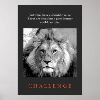 Leão preto & branco das citações inspiradas do pôster