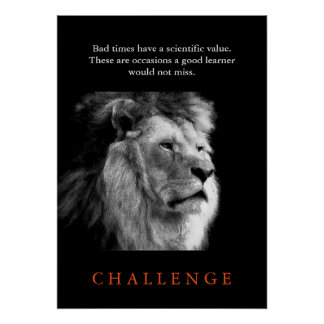 Leão preto do desafio & branco inspirado poster