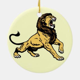 leão rujir ornamento de cerâmica redondo