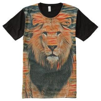 Leão selvagem colorido arte colorida do giz camisetas com impressão frontal completa
