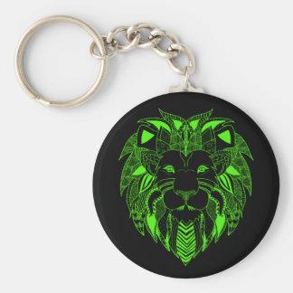 Leão verde com cor do fundo de sua escolha chaveiro