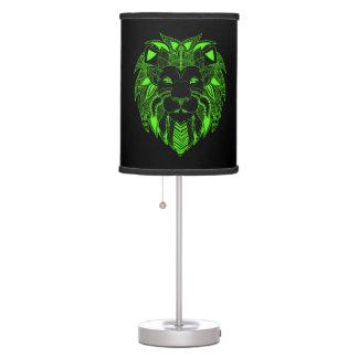 Leão verde e preto fluorescente abajur de mesa