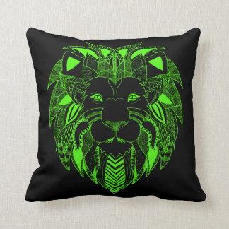 Leão verde e preto fluorescente almofada
