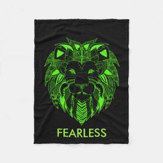 Leão verde e preto fluorescente com texto feito cobertor de velo