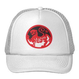 Leão vermelho Yin e chapéu de Yang Boné