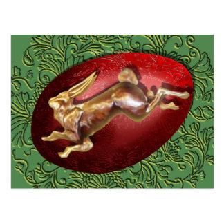 Lebre do primavera & cartão vermelho do ovo